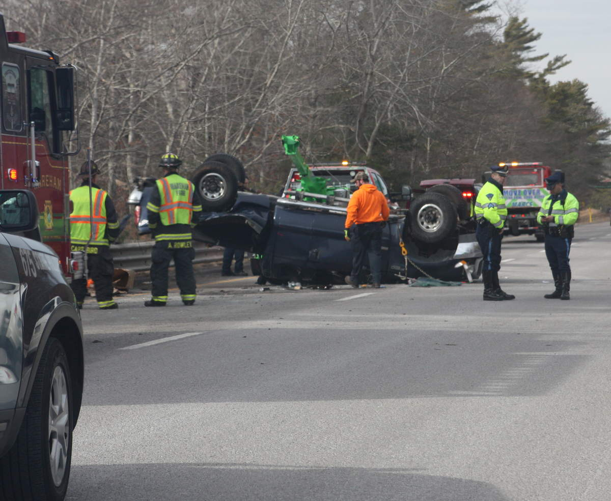 Raynham man taken to hospital after rollover on I-495 in